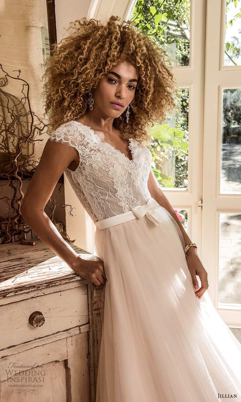 jillian sposa 2021 bridal cap sleeves v neckline lace bodice bow waist a line ball gown wedding dress chapel train (7) zv