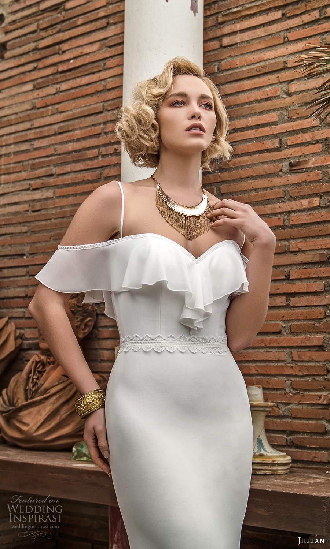 jillian sposa 2021 bridal cold shoulder straps sweetheart neckline clean minimalist boho chic sheath wedding dress (18) mv