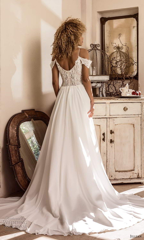 jillian sposa 2021 bridal cold shoulder straps sweetheart neckline heavily embellished bodice a line ball gown wedding dress chapel train (3) bv