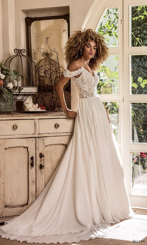 jillian sposa 2021 bridal cold shoulder straps sweetheart neckline heavily embellished bodice a line ball gown wedding dress chapel train (3) mv