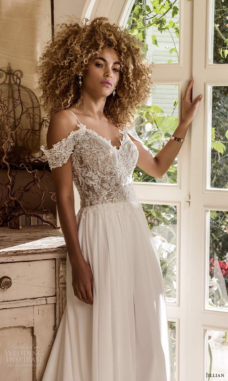 jillian sposa 2021 bridal cold shoulder straps sweetheart neckline heavily embellished bodice a line ball gown wedding dress chapel train (3) zv