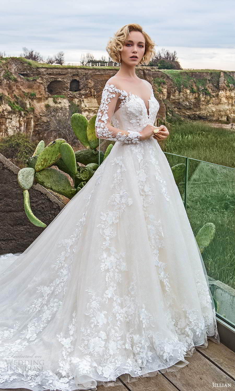 jillian sposa 2021 bridal illusion long sleeves off shoulder sweetheart neckline fully embellished lace a line ball gown wedding dress chapel train (16) mv