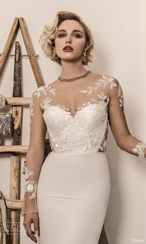 jillian sposa 2021 bridal illusion long sleeves sheer bateau sweetheart neckline embellished bodice sheath wedding dress (15) mv