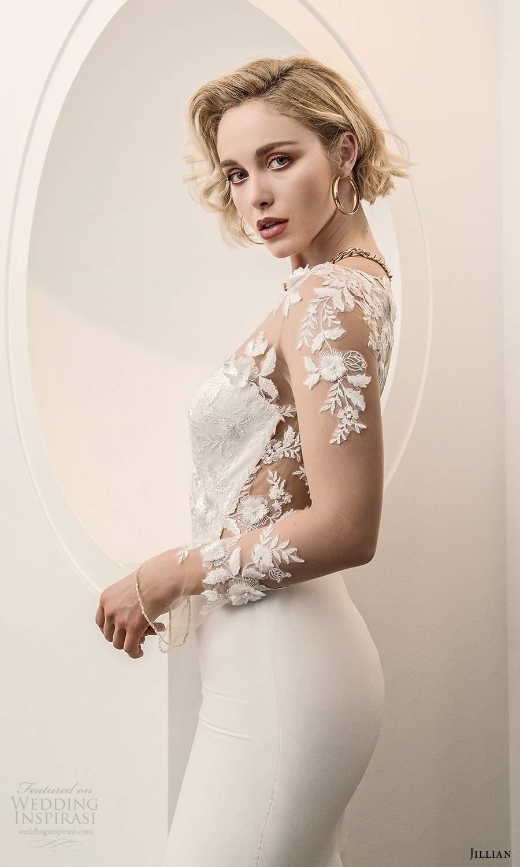 jillian sposa 2021 bridal illusion long sleeves sheer bateau sweetheart neckline embellished bodice sheath wedding dress (15) sv