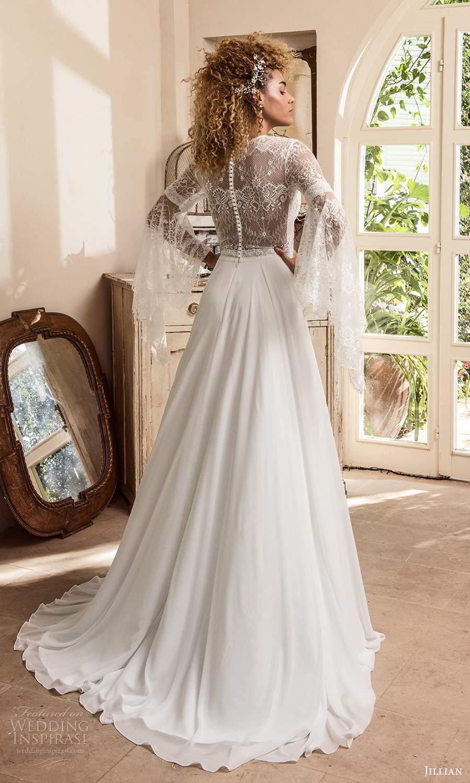 jillian sposa 2021 bridal long flare sleeve v neckline lace bodice a line boho wedding dress (4) bv