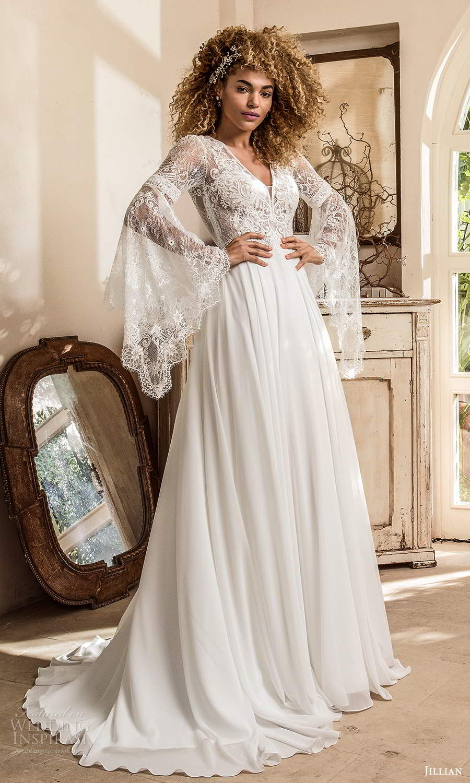jillian sposa 2021 bridal long flare sleeve v neckline lace bodice a line boho wedding dress (4) mv