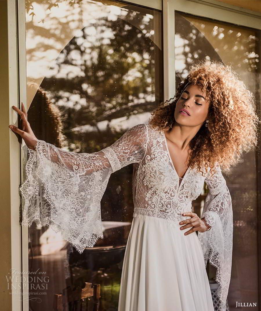 jillian sposa 2021 bridal long flare sleeve v neckline lace bodice a line boho wedding dress (4) zv