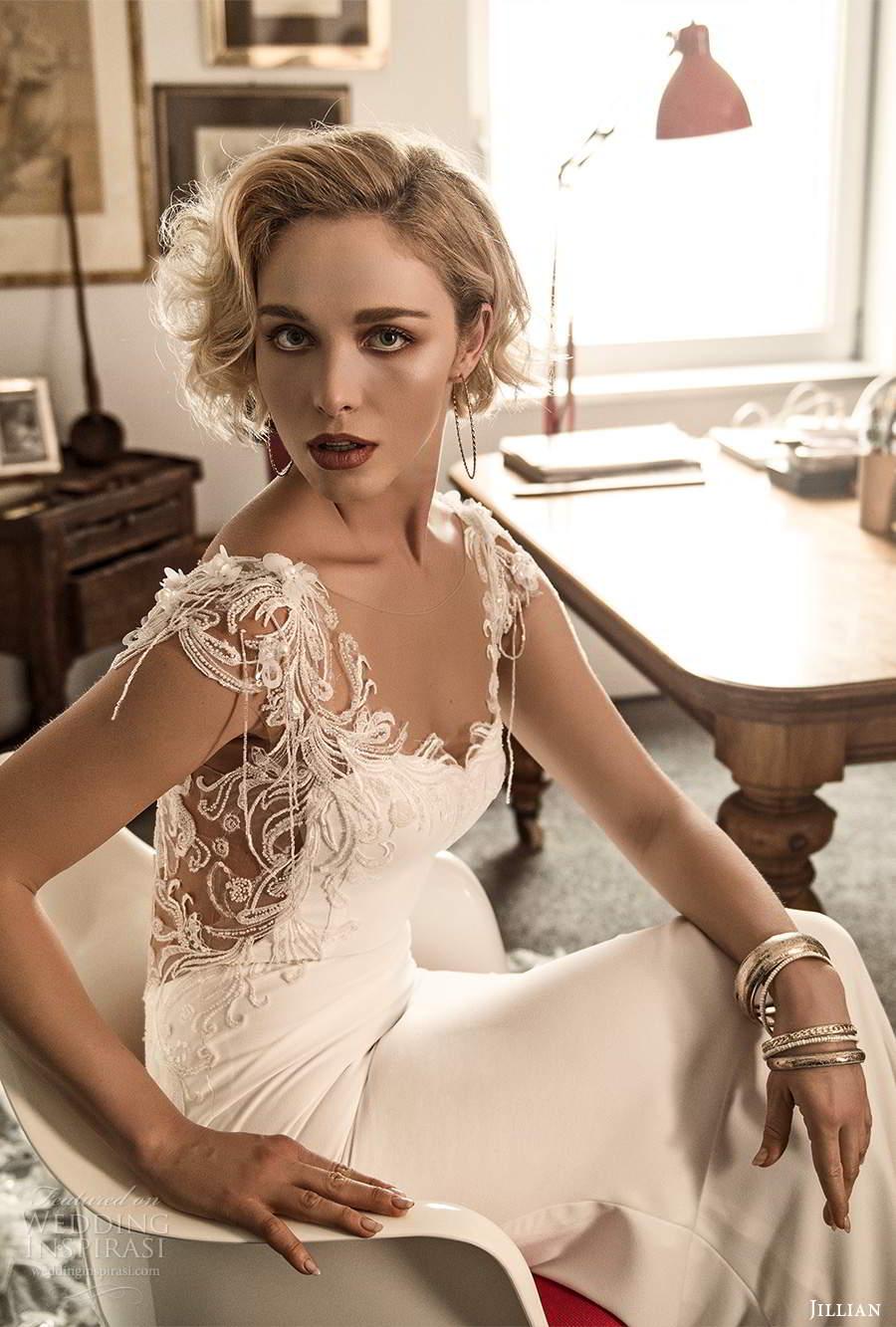 jillian sposa 2021 bridal sheer cap sleeves sweetheart neckline illusion v back sheath wedding dress chapel train (11) mv