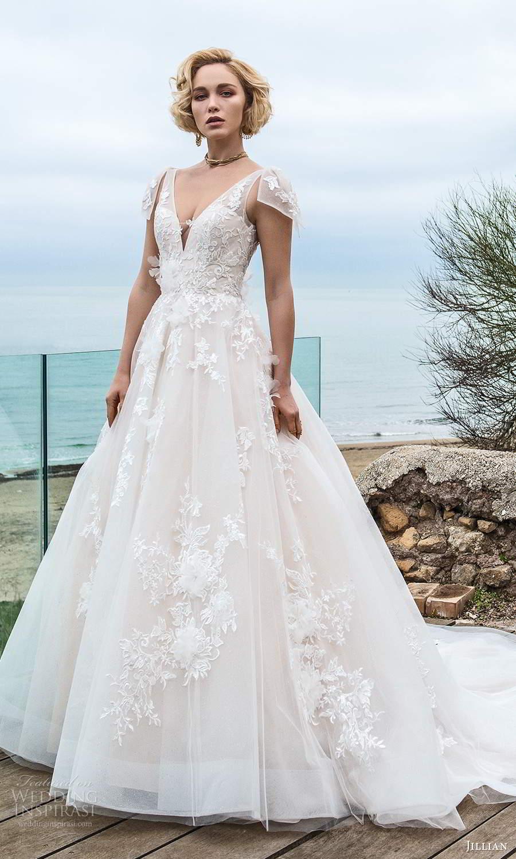 jillian sposa 2021 bridal sheer flutter sleeves plunging v neckline fully embellished lace a line ball gown wedding dress chapel train (17) mv