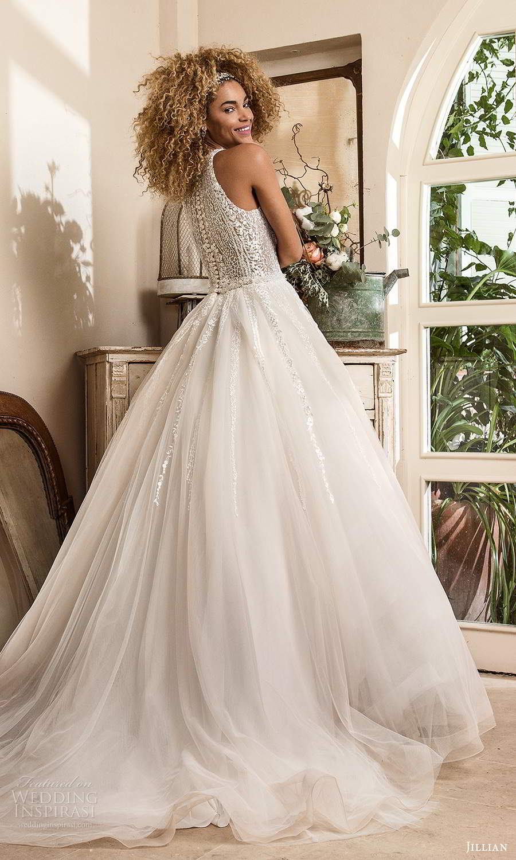 jillian sposa 2021 bridal sleeveless halter neckline embellished a line wedding dress chapel train (5) bv
