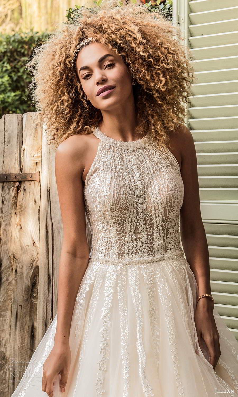 jillian sposa 2021 bridal sleeveless halter neckline embellished a line wedding dress chapel train (5) mv
