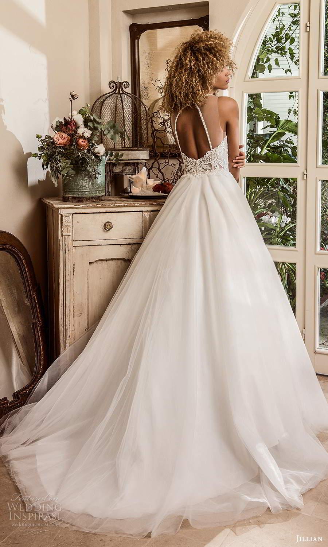 jillian sposa 2021 bridal sleeveless illusion strap jewel neckline heavily embellished bodice a line ball gown wedding dress chapel train (2) bv