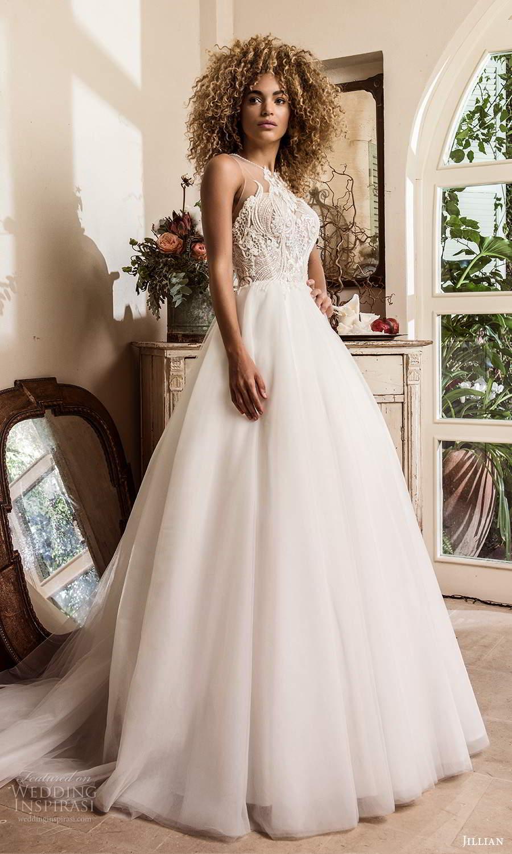 jillian sposa 2021 bridal sleeveless illusion strap jewel neckline heavily embellished bodice a line ball gown wedding dress chapel train (2) mv