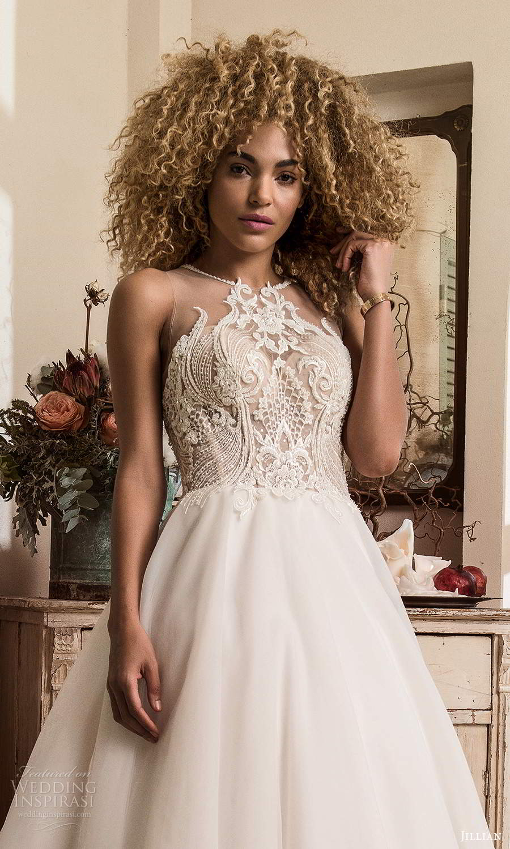 jillian sposa 2021 bridal sleeveless illusion strap jewel neckline heavily embellished bodice a line ball gown wedding dress chapel train (2) zv