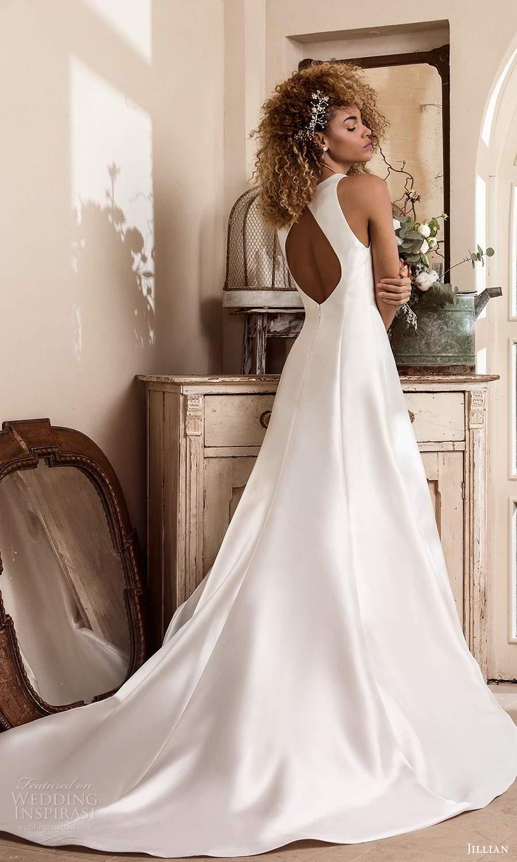 jillian sposa 2021 bridal sleeveless split jewel neckline clean minimalist a line ball gown wedding dress chapel train (1) bv