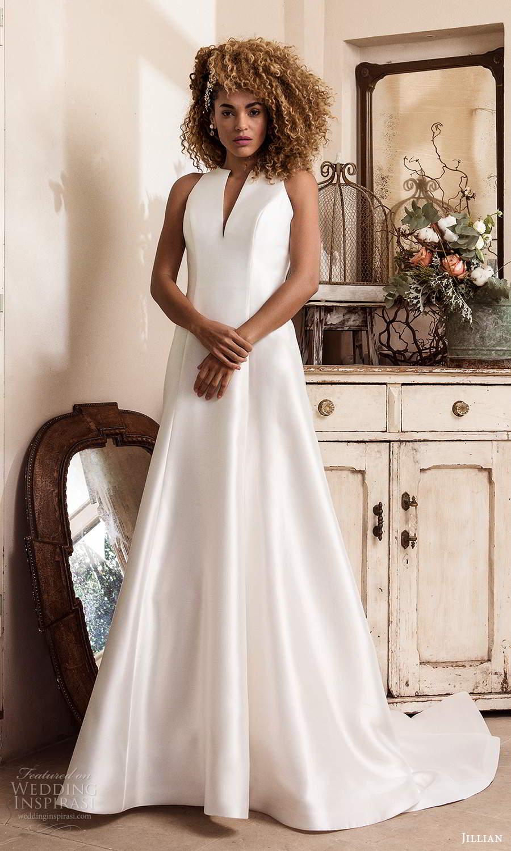jillian sposa 2021 bridal sleeveless split jewel neckline clean minimalist a line ball gown wedding dress chapel train (1) mv