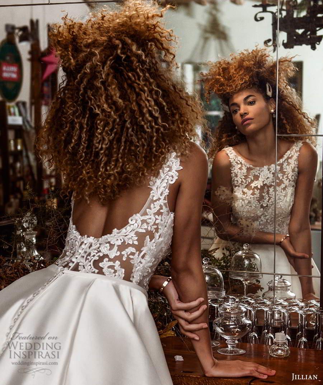 jillian sposa 2021 bridal sleeveless strap scoop necklilne illusion lace bodice a line ball gown wedding dress chapel train (8) mv