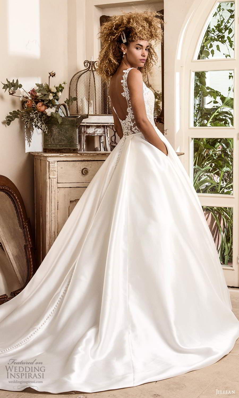 jillian sposa 2021 bridal sleeveless strap scoop necklilne illusion lace bodice a line ball gown wedding dress scoop back chapel train (8) bv