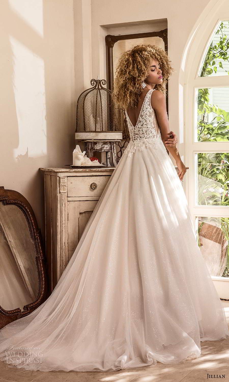jillian sposa 2021 bridal sleeveless straps plunging v neckline embellished lace bodice a line ball gown wedding dress chapel train (6) bv
