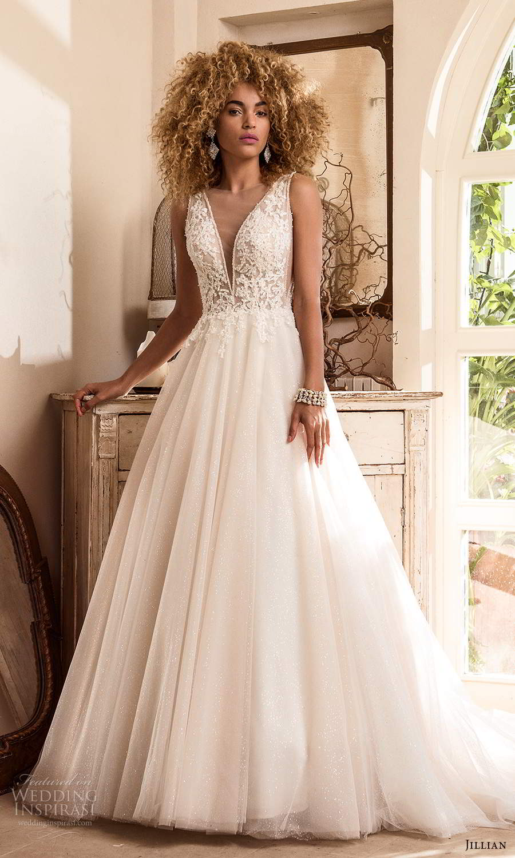 jillian sposa 2021 bridal sleeveless straps plunging v neckline embellished lace bodice a line ball gown wedding dress chapel train (6) mv