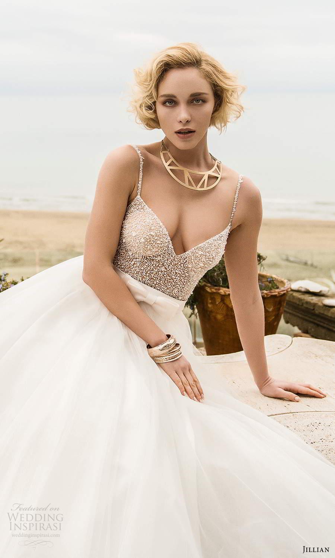 jillian sposa 2021 bridal sleeveless straps sweetheart neckline fully embellished bodysuit a line ball gown skirt two piece wedding dress (14) mv