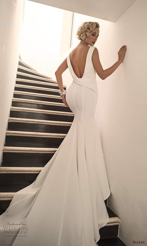jillian sposa 2021 bridal sleeveless strapsl cowl back clean minimalist fit flare mermaid wedding dress (10) mv