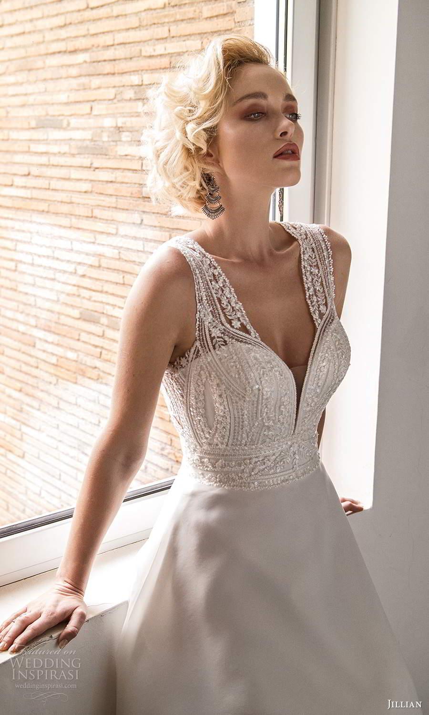 jillian sposa 2021 bridal sleeveless thick straps sweetheart v neckline heavily embellished bodice a line wedding dress keyhole back (20) mv