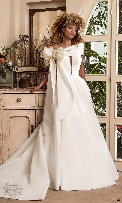 jillian sposa 2021 bridal strapless split plunging v neckline clean minimalist a line ball gown wedding dress chapel train (9) mv