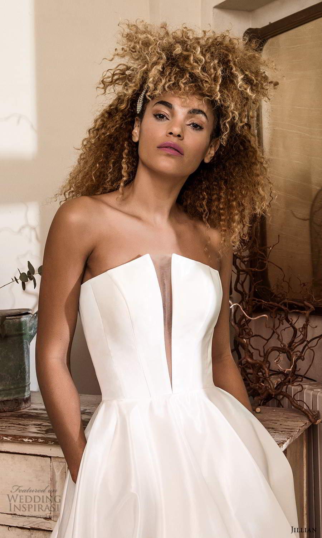 jillian sposa 2021 bridal strapless split plunging v neckline clean minimalist a line ball gown wedding dress chapel train (9) zv