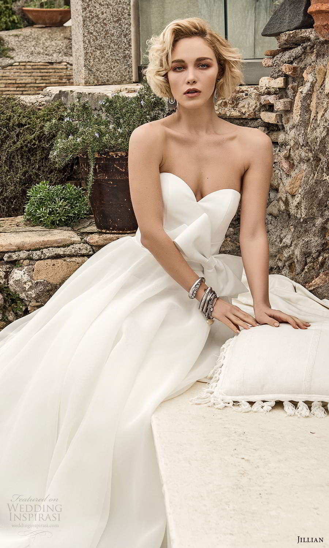 jillian sposa 2021 bridal strapless sweetheart neckline clean minimally embellished a line ball gown two piece wedding dress (13) mv