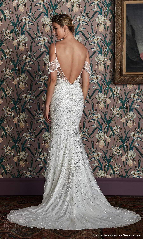 justin alexander spring 2021 bridal cold shoulder straps sweetheart neckline fully embellished sheath wedding dress chapel train (9) bv