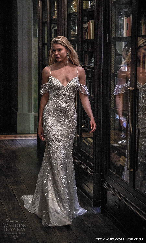 justin alexander spring 2021 bridal cold shoulder straps sweetheart neckline fully embellished sheath wedding dress chapel train (9) fv