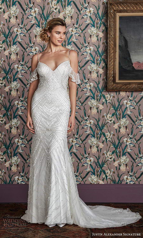 justin alexander spring 2021 bridal cold shoulder straps sweetheart neckline fully embellished sheath wedding dress chapel train (9) mv