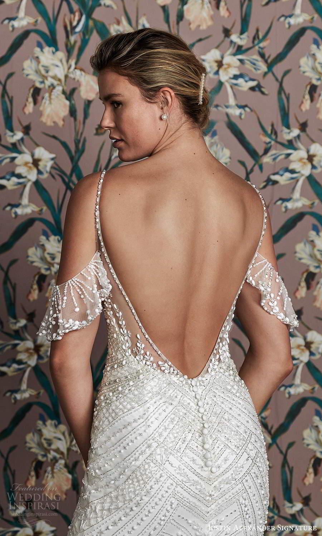 justin alexander spring 2021 bridal cold shoulder straps sweetheart neckline fully embellished sheath wedding dress chapel train (9) zbv
