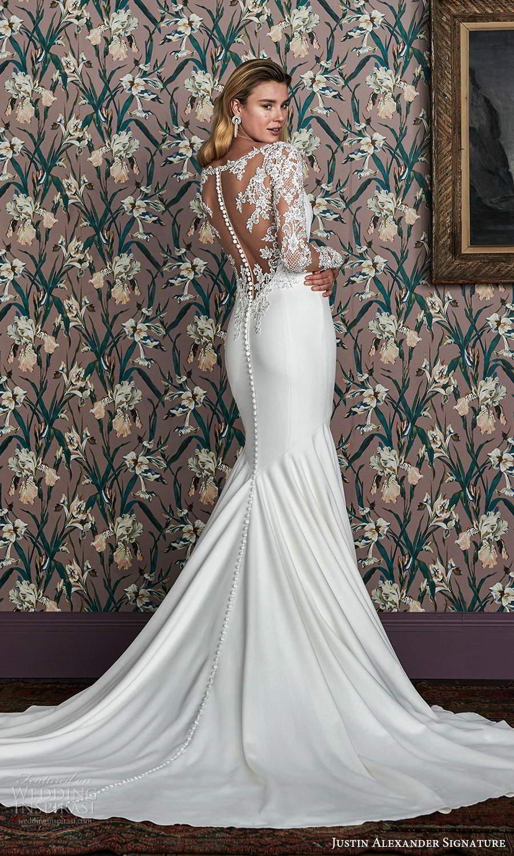 justin alexander spring 2021 bridal illusion long sleeve bateau neckline clean modern fit flare wedding dress chapel train illusion back (11) bv