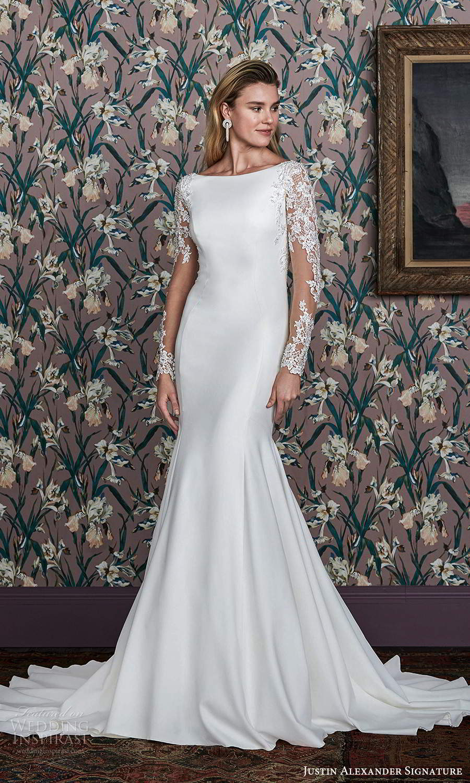 justin alexander spring 2021 bridal illusion long sleeve bateau neckline clean modern fit flare wedding dress chapel train illusion back (11) mv