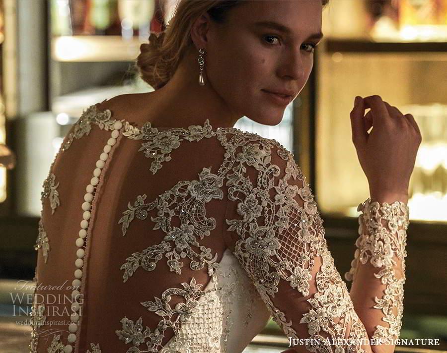 justin alexander spring 2021 bridal illusion long sleeve bateau neckline clean modern fit flare wedding dress chapel train illusion back (11) zbv