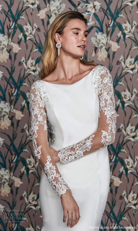 justin alexander spring 2021 bridal illusion long sleeve bateau neckline clean modern fit flare wedding dress chapel train illusion back (11) zv