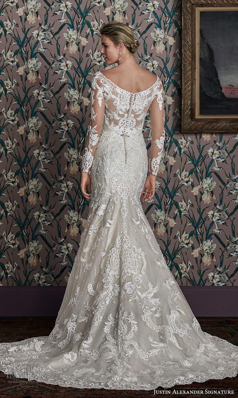 justin alexander spring 2021 bridal illusion long sleeves off shoulder v neckline fully embellished lace fit flare mermaid wedding dress chapel train (14) bv
