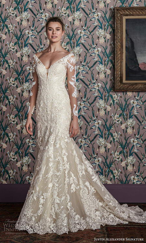 justin alexander spring 2021 bridal illusion long sleeves off shoulder v neckline fully embellished lace fit flare mermaid wedding dress chapel train (14) mv