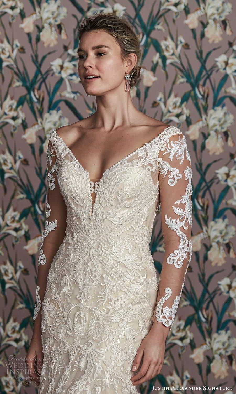 justin alexander spring 2021 bridal illusion long sleeves off shoulder v neckline fully embellished lace fit flare mermaid wedding dress chapel train (14) zv