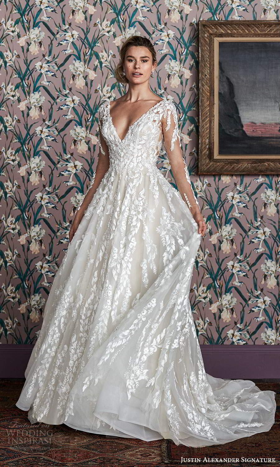 justin alexander spring 2021 bridal illusion long sleeves plunging v neckline fully embellished a line ball gown wedding dress chapel train (6) mv