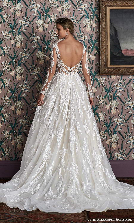justin alexander spring 2021 bridal illusion long sleeves plunging v neckline fully embellished a line ball gown wedding dress scoop back chapel train (6) bv