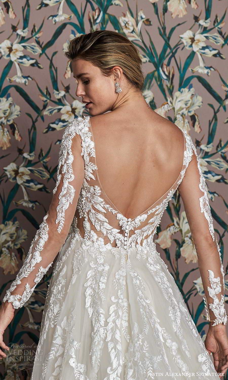 justin alexander spring 2021 bridal illusion long sleeves plunging v neckline fully embellished a line ball gown wedding dress scoop back chapel train (6) zbv