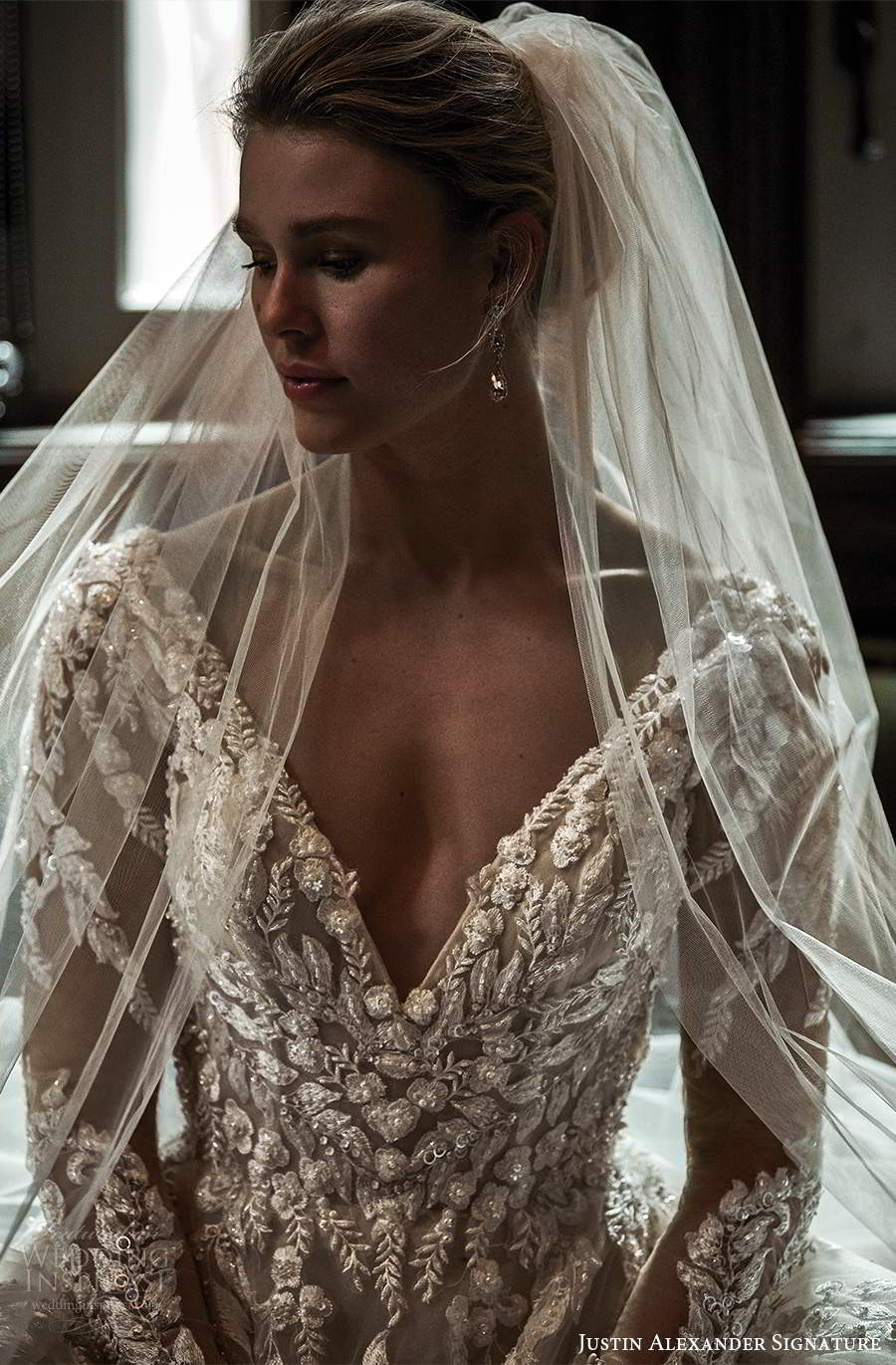justin alexander spring 2021 bridal illusion long sleeves plunging v neckline fully embellished a line ball gown wedding dress scoop back chapel train (6) zv