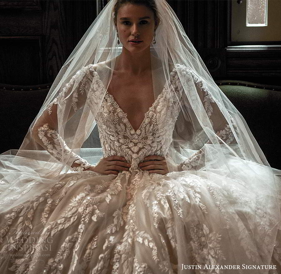 justin alexander spring 2021 bridal illusion long sleeves plunging v neckline fully embellished a line ball gown wedding dress scoop back chapel train veil (6) zv