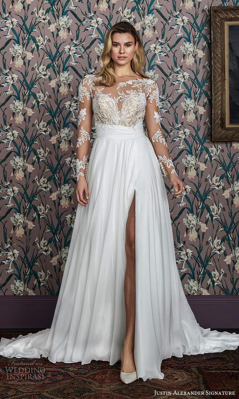 justin alexander spring 2021 bridal illusion long sleeves sheer bateau neck sweetheartneckline embellished bodice a line ball gown wedding dress clean slit skirt mv (12) mv