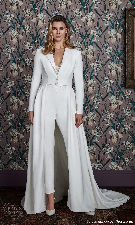justin alexander spring 2021 bridal long sleeves collar jacket jumpsuit a line wedding dress chapel train (16) mv