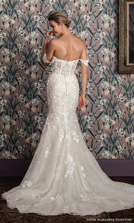justin alexander spring 2021 bridal off shoulder straps sweetheart neckline fully embellished lace mermaid wedding dress chapel train (4) bv