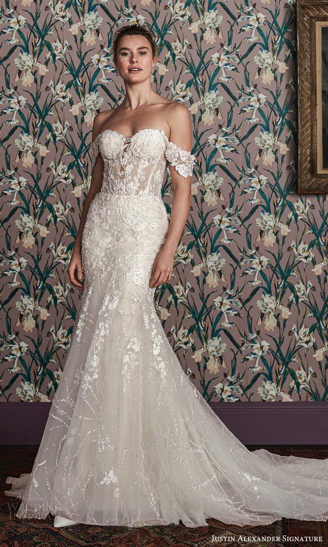justin alexander spring 2021 bridal off shoulder straps sweetheart neckline fully embellished lace mermaid wedding dress chapel train (4) mv